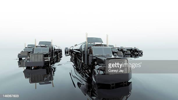 CGI of fleet of fuel tanker trucks