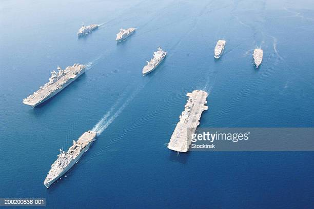 fleet of military ships at sea in arabian gulf, may 2003 - navy stock pictures, royalty-free photos & images