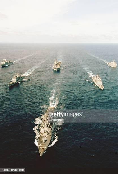 Fleet of military ships at sea in Atlantic Ocean