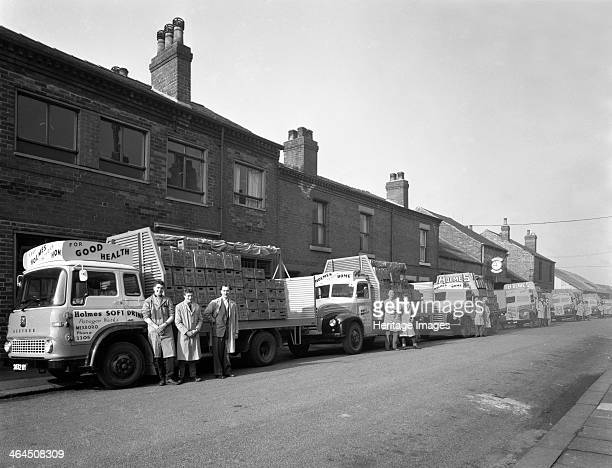 Fleet of soft drinks delivery lorries Mexborough South Yorkshire 1961 The fleet of lorries with their newest Bedford TK at the front of the line up...