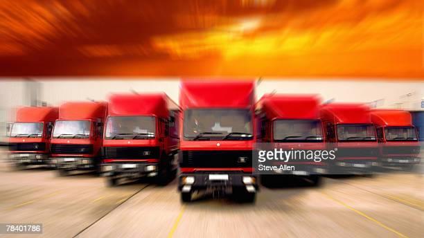 Fleet of trucks driving