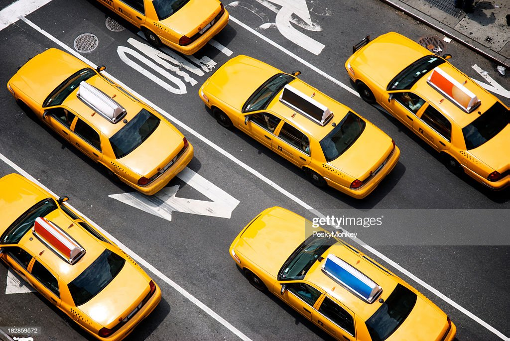 Fleet of Yellow New York City Taxi Cabs from Above : Stock Photo