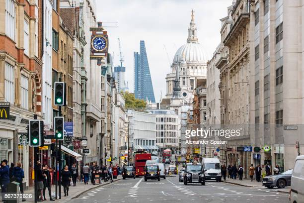 fleet street in london financial district, london, uk - london financial district stock photos and pictures