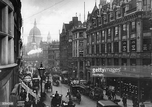 Fleet Street looking towards Ludgate Hill and St Paul's Cathedral