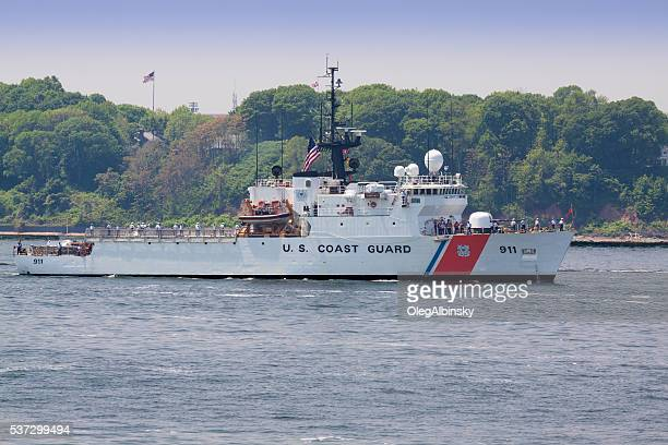 nyc fleet week 2016, us coast guard boat, ny harbor. - coast guard stock pictures, royalty-free photos & images