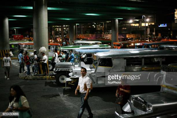Fleets of jeepneys are seen at a loading bay in Manila Philippines on Thursday February 1 2018 The Jeepney has become a symbol of Filipino culture...
