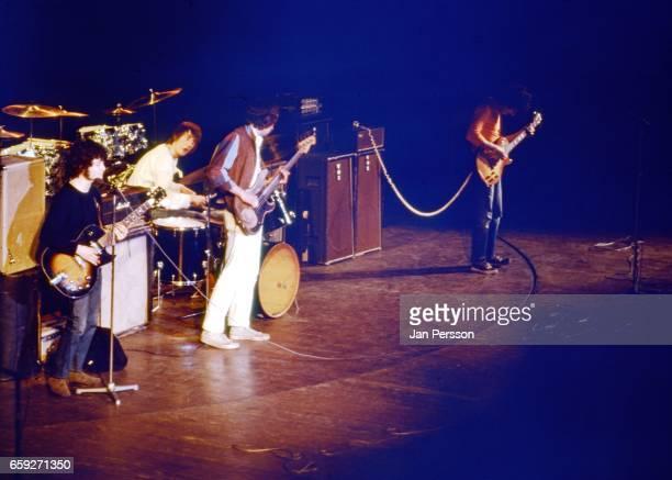 Fleetwood Mac in concert Copenhagen Denmark November 1968 LR Jeremy Spencer Mick Fleetwood John McVie Peter Green