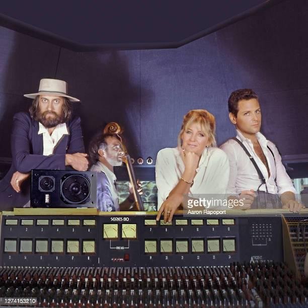 Fleetwood Mac members Mick Fleetwood, John McVie, Christine McVie and Lindsey Buckingham, pose in the recording studio in Los Angeles, California...