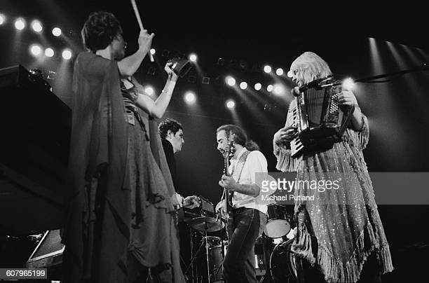 Fleetwood Mac performing at one of six shows at Wembley Arena London between 20th 27th June 1980 Left to right Stevie Nicks Lindsey Buckingham John...