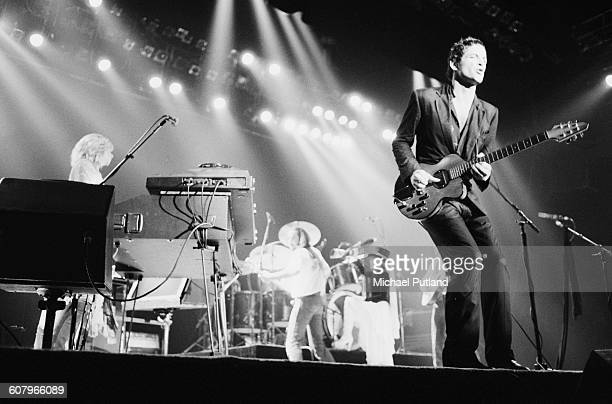Fleetwood Mac performing at one of six shows at Wembley Arena London between 20th 27th June 1980 Left to right Christine McVie John McVie Stevie...