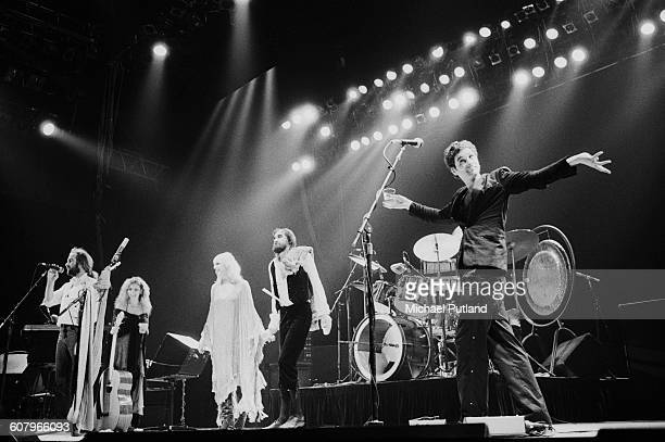 Fleetwood Mac performing at one of six shows at Wembley Arena London between 20th 27th June 1980 Left to right John McVie Stevie Nicks Christine...