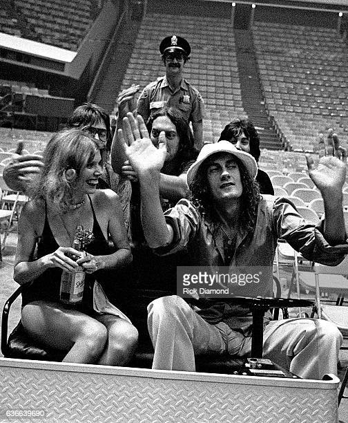 Fleetwood Mac Rock and Roll Hall of Fame Mick Fleetwood carts with friends at The Omni Coliseum in Atlanta Georgia June 1 1977