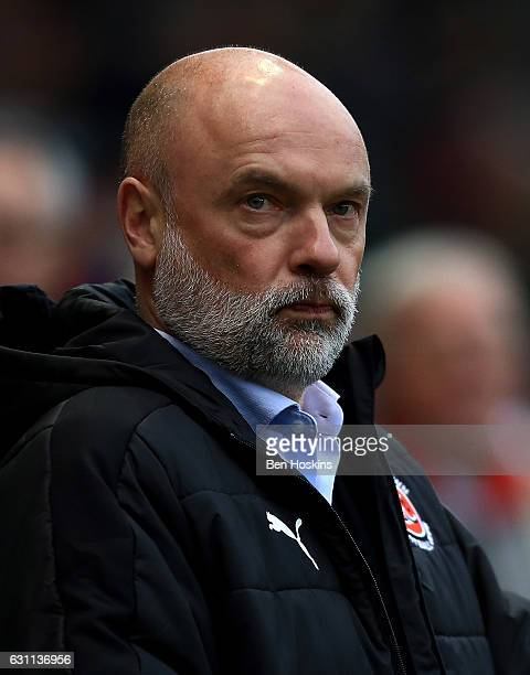 Fleetwood manager Uwe Rosler look on ahead of The Emirates FA Cup Third Round match between Bristol City and Fleetwood Town at Ashton Gate on January...