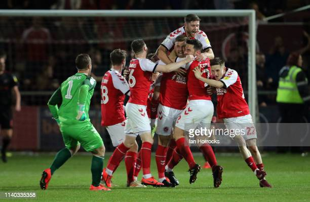 Fleetwood players celebrate the winning goal during the Sky Bet League One match between Fleetwood Town and Sunderland at Highbury Stadium on April...