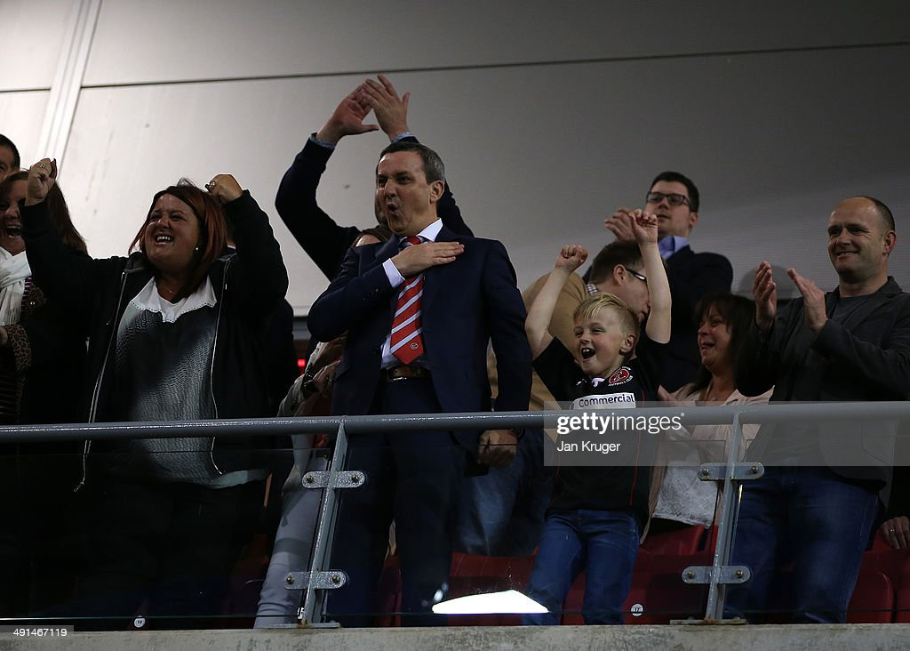 Fleetwood Town Chairman Andy Pilley celebrates at the final whistle during the Sky Bet League Two play off Semi Final second leg match between Fleetwood Town and York City at Highbury Stadium on May 16, 2014 in Fleetwood, England.