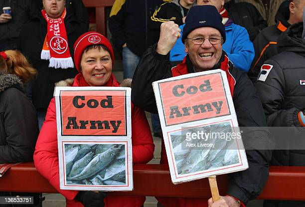 Fleetwood Town fans show their support prior to the FA Cup sponsored by Budweiser third round match between Fleetwood Town and Blackpool at Highbury...