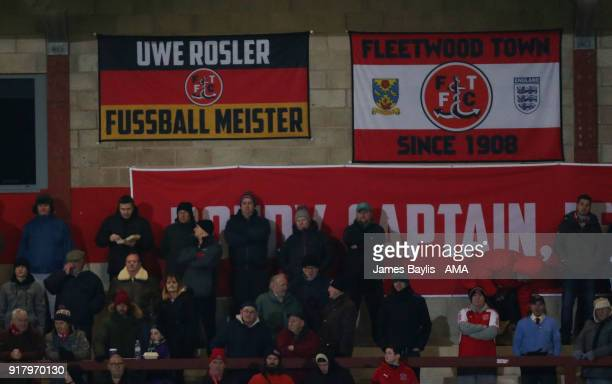 Fleetwood Town German flag with the message 'Uwe Rosler Fussball Meister' during the Sky Bet League One match between Fleetwood Town and Shrewsbury...
