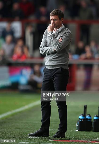Fleetwood Town manager Graham Alexander deep in thought during the Sky Bet League Two match between Fleetwood Town and Chesterfield at Highbury...