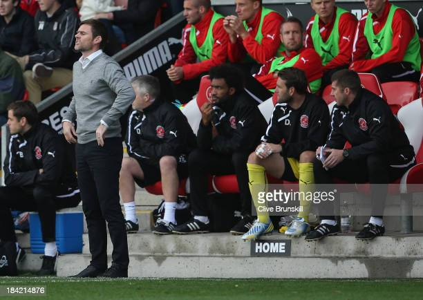 Fleetwood Town manager Graham Alexander gives instructions to his team during the Sky Bet League Two match between Fleetwood Town and Chesterfield at...