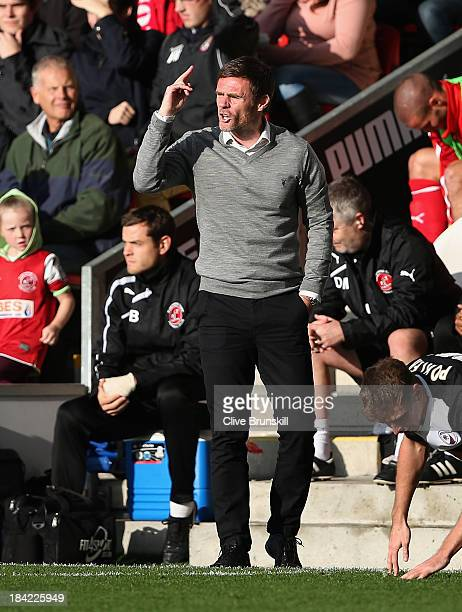 Fleetwood Town manager Graham Alexander shouts instructions to his team during the Sky Bet League Two match between Fleetwood Town and Chesterfield...