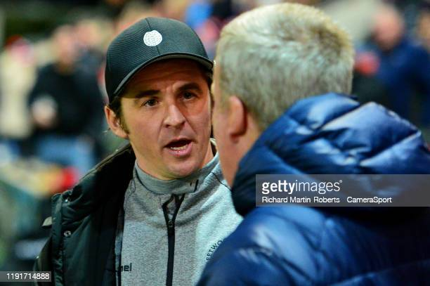 Fleetwood Town manager Joey Barton greets Portsmouth manager Kenny Jackett during the FA Cup Third Round match between Fleetwood Town and Portsmouth...