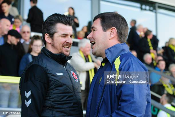 Fleetwood Town manager Joey Barton left and Burton Albion manager Nigel Clough prior to the Sky Bet League One match between Burton Albion and...