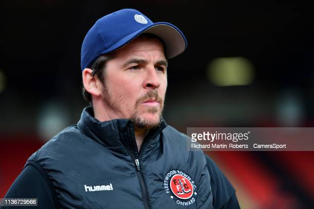 Fleetwood Town manager Joey Barton looks on during the Sky Bet League One match between Barnsley and Fleetwood Town at Oakwell Stadium on April 13...