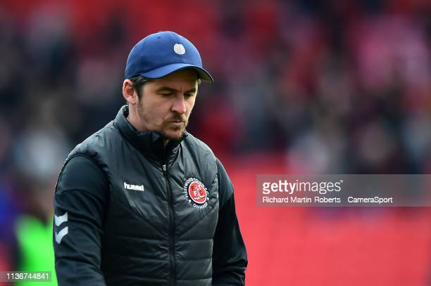 Fleetwood Town manager Joey Barton walks off at fulltime during the Sky Bet League One match between Barnsley and Fleetwood Town at Oakwell Stadium...