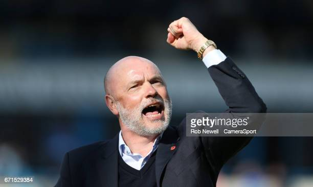 Fleetwood Town manager Uwe Rosler celebrates at the end of the game during the Sky Bet League One match between Gillingham and Fleetwood Town at...