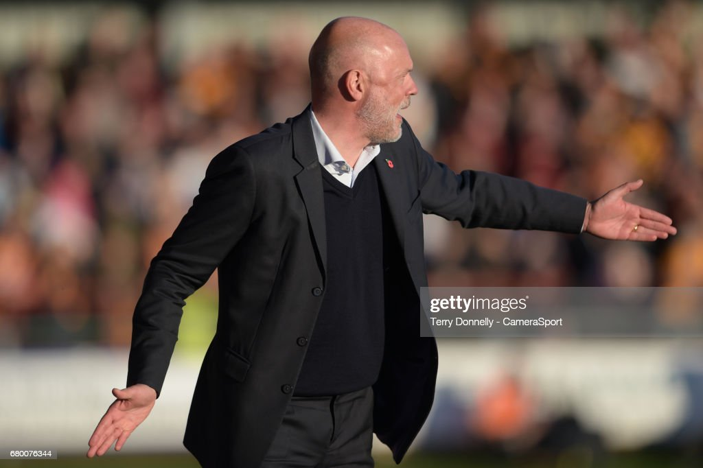 Fleetwood Town manager Uwe Rosler during the Sky Bet League One Play-Off Semi-Final Second Leg match between Fleetwood Town and Bradford City at Highbury Stadium on May 7, 2017 in Fleetwood, England.