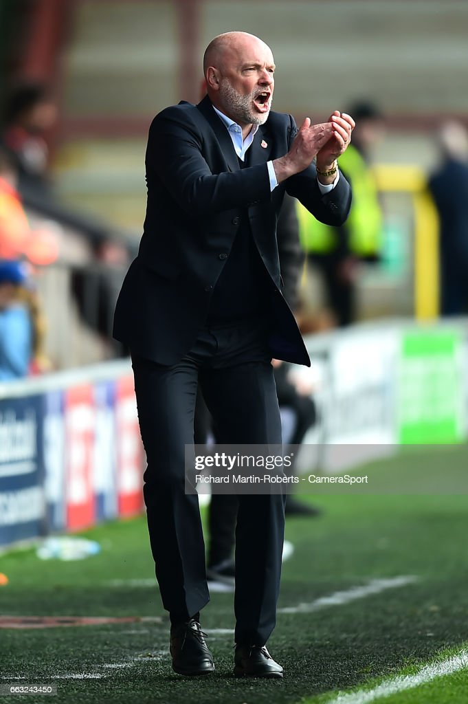 Fleetwood Town manager Uwe Rosler reacts during the Sky Bet League One match between Fleetwood Town and Swindon Town at Highbury Stadium on April 1, 2017 in Fleetwood, England.