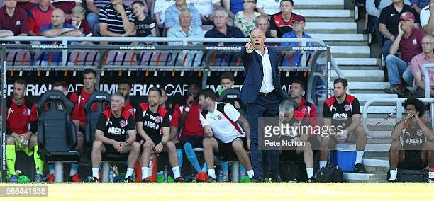 Fleetwood Town manager Uwe Rosler shouts instructions during the Sky Bet League One match between Northampton Town and Fleetwood Town at Sixfields...