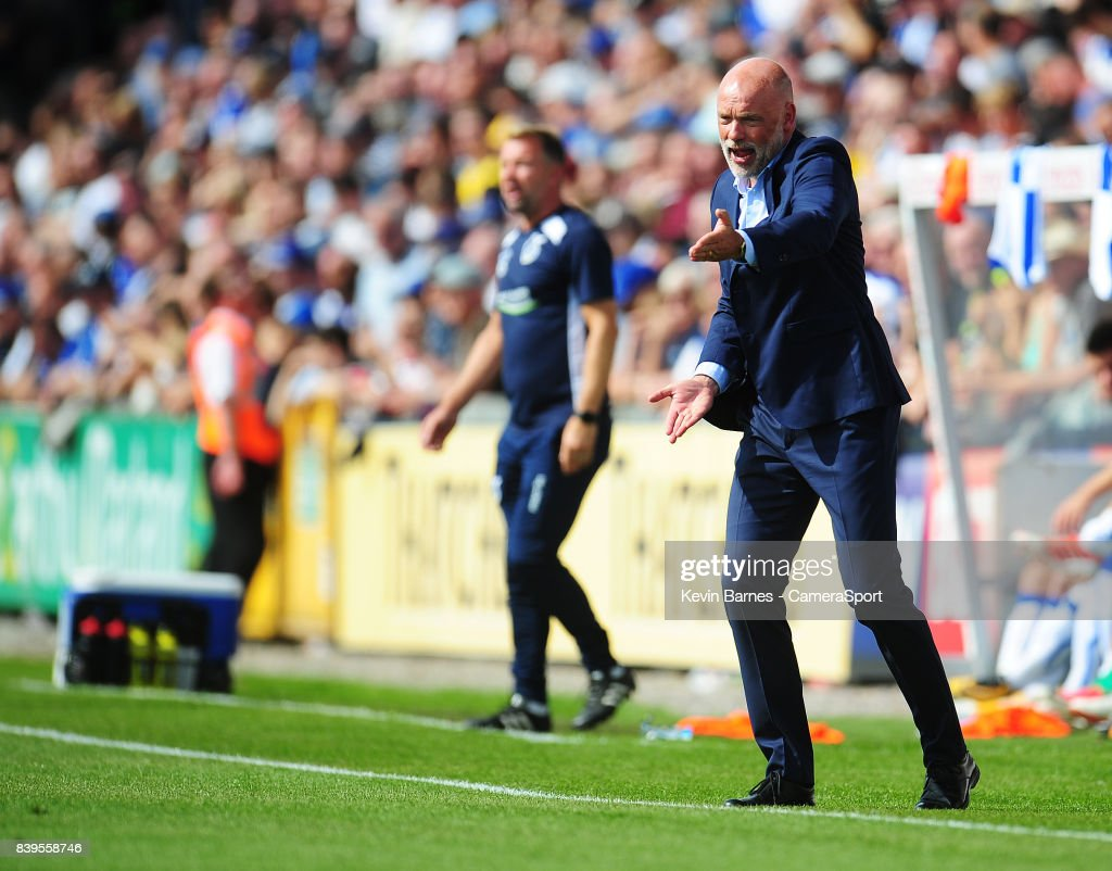 Fleetwood Town manager Uwe Rosler shouts instructions to his team from the dug-out during the Sky Bet League One match between Bristol Rovers and Fleetwood Town at Memorial Stadium on August 26, 2017 in Bristol, England.