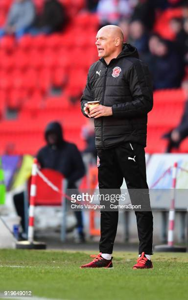 Fleetwood Town manager Uwe Rosler shouts instructions to his team from the technical area during the Sky Bet League One match between Doncaster...
