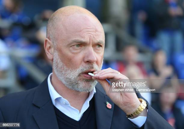 Fleetwood Town manager Uwe Rosler takes his place in the dugout before kickoff during the Sky Bet League One match between Oldham Athletic and...
