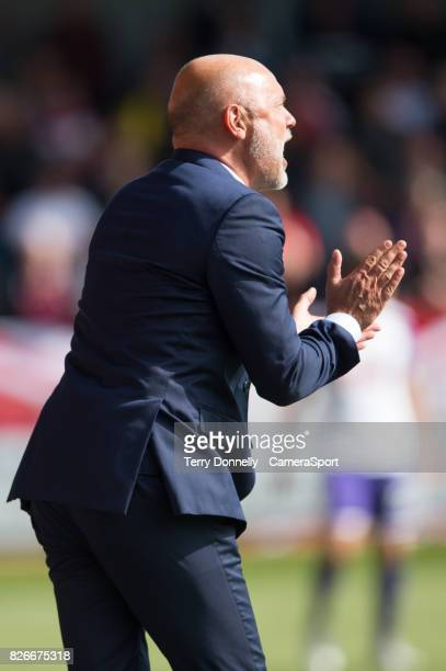 Fleetwood Town manager Uwe Rösler shouts instructions during todays match during the Sky Bet League One match between Fleetwood Town and Rotherham...