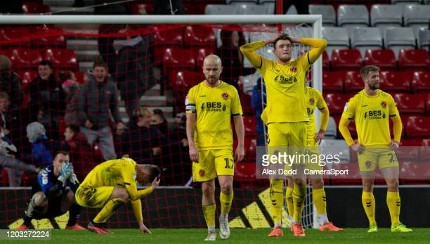 Fleetwood Town players react to conceding a very late equaliser during the Sky Bet Leauge One match between Sunderland and Fleetwood Town at Stadium...