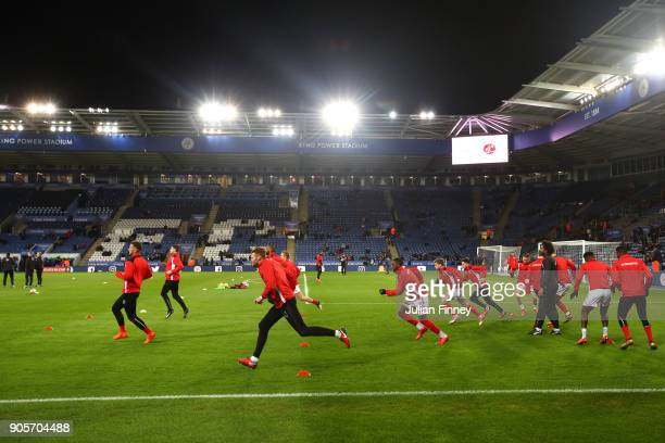 Fleetwood Town players warm up prior to The Emirates FA Cup Third Round Replay match between Leicester City and Fleetwood Town at The King Power...