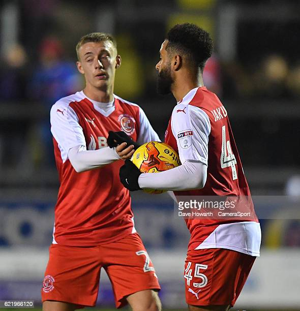 Fleetwood Town's Alex Jakubiak is congratulated on scoring his sides 2nd goal during the Checkatrade Trophy Northern Group D match between Carlisle...