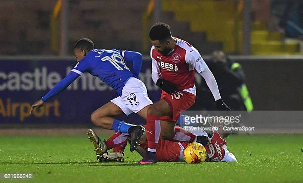 Fleetwood Town's Alex Jakubiak wins the ball during the Checkatrade Trophy Northern Group D match between Carlisle United and Fleetwood Town at...