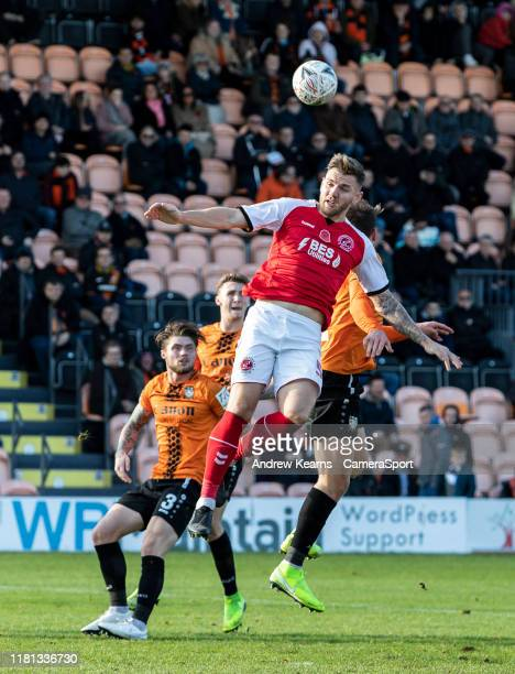 Fleetwood Town's Ashley Eastham competing with Barnet's Callum Reynolds in the air during the FA Cup First Round match between Barnet and Fleetwood...
