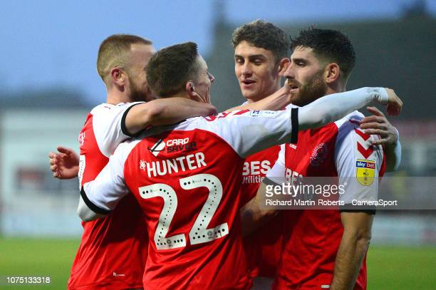 Fleetwood Town's Ashley Hunter celebrates scoring his side's second goal with his teammates during the Sky Bet League One match between Fleetwood...