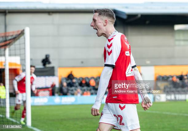 Fleetwood Town's Ashley Hunter celebrates scoring his side's second goal during the FA Cup First Round match between Barnet and Fleetwood Town at The...