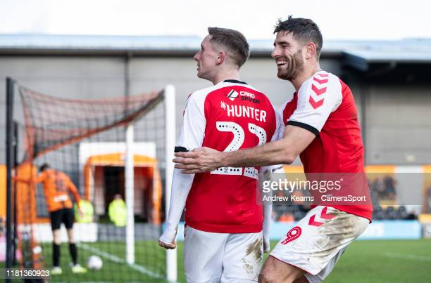 Fleetwood Town's Ashley Hunter celebrates scoring his side's second goal with team mate Ched Evans during the FA Cup First Round match between Barnet...
