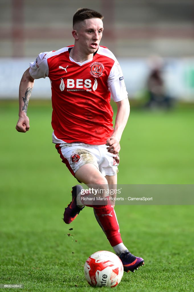 Fleetwood Town's Ashley Hunter in action during the Sky Bet League One match between Fleetwood Town and Swindon Town at Highbury Stadium on April 1, 2017 in Fleetwood, England.