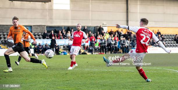 Fleetwood Town's Ashley Hunter scoring his side's second goal during the FA Cup First Round match between Barnet and Fleetwood Town at The Hive on...