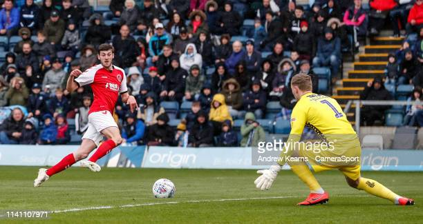 Fleetwood Town's Ashley Nadesan shoots at goal during the Sky Bet League One match between Wycombe Wanderers and Fleetwood Town at Adams Park on May...