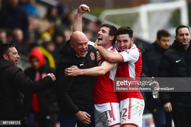 Fleetwood Town's Bobby Grant celebrates scoring his side's first goal with Manager Uwe Rosler during the Sky Bet League One match between Fleetwood...
