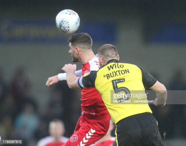 Fleetwood Town's Ched Evans in action with Burton Albion's Jake Buxton during the Sky Bet League One match between Burton Albion and Fleetwood Town...