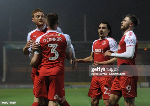 Fleetwood Town's Cian Bolger celebrates scoring the opening goal with team-mates Kevin O'Connor, Ashley Eastham, Markus Schwabl and Wes Burns during...